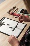 Traditionele Japanse of Chinese kalligrafie Royalty-vrije Stock Afbeeldingen