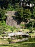 Traditionele Japanse landschapstuin met vijver en houten overspannen brug Royalty-vrije Stock Foto