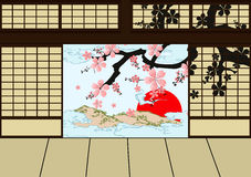 Traditionele Japanse ruimte, deur Shoji en Sakura Stock Afbeeldingen