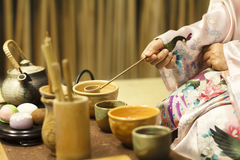Traditionele Japanse theeceremonie stock foto's