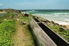 Traditionele Kano door de oceaan Stock Fotografie