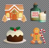 Traditionele Kerstmis behandelt illustratiereeks Royalty-vrije Stock Foto's