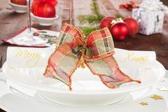Traditionele Kerstmislijst met exemplaarruimte. Stock Fotografie