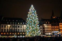 Traditionele Kerstmismarkt in historisch Straatsburg Frankrijk Royalty-vrije Stock Afbeeldingen