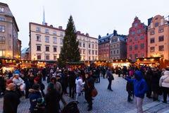 Traditionele Kerstmismarkt in Stockholm Stock Afbeeldingen
