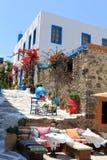 Traditionele kleuren voor Griekse architectuur Royalty-vrije Stock Foto