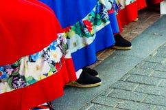 Traditionele kleurrijke schoenen voor volkskostuums in Spanje, danssho stock foto's
