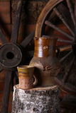 Traditionele kruik wijn Stock Foto