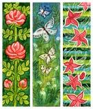 Traditionele kunst bloemenbanners Stock Afbeelding