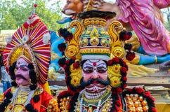 Traditionele kunstenaar die Yakshagana uitvoeren royalty-vrije stock afbeelding