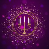 Traditionele menorah (Kandelaber) met gouden schitterend effect royalty-vrije illustratie