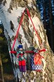 Traditionele met de hand gemaakte oude Russische volksvoddenpoppen van echtpaar Nerazluchniki op berkachtergrond Stock Afbeeldingen