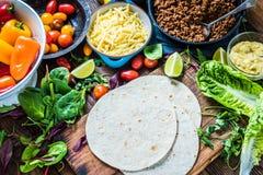 Traditionele Mexicaanse tortilla's of fajitarecept Stock Foto