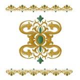 Traditionele middeleeuwse naadloze elementen op geïsoleerd wit Stock Foto