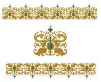 Traditionele middeleeuwse naadloze elementen op geïsoleerd wit Stock Afbeelding