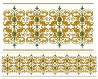 Traditionele middeleeuwse naadloze elementen op geïsoleerd wit Stock Fotografie