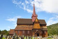 Traditionele middeleeuwse Noorse staafkerk Ringebu stavkyrkje Royalty-vrije Stock Fotografie