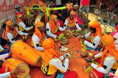 Traditionele Muziek bij Madura-Stierenras, Indonesië Royalty-vrije Stock Fotografie