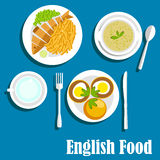 Traditionele nationale Engelse keukenschotels Royalty-vrije Stock Afbeeldingen