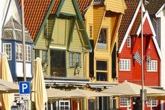 Traditionele Noorse multi gekleurde voorgevels De stad van Stavanger Tou Stock Afbeelding