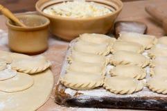 Traditionele Oekraïense met de hand gemaakte varenyky (pierogi ruskie in Pola Royalty-vrije Stock Foto