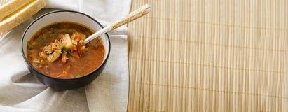 Traditionele Oekra?ense Russische groentesoep borscht, met harde room de broodjes van de peterselierogge stock foto