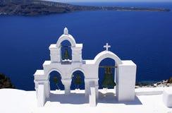 Traditionele orthodoxe kerk in Santorini Stock Fotografie