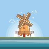 Traditionele oude de kunstillustratie van de windmolenrooilijn Stock Foto
