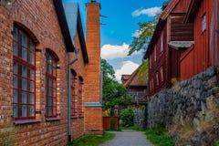 Traditionele oude huizen in Skansen Stockholm Zweden royalty-vrije stock afbeeldingen