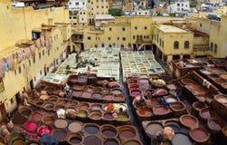Traditionele oude Marokkaanse installatie voor verwerkingsleer en het Royalty-vrije Stock Afbeeldingen