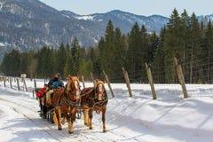 Traditionele paard getrokken vervoerrit tijdens de winter Royalty-vrije Stock Afbeeldingen