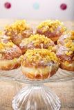 Traditionele Poolse eigengemaakte donuts met roze likeur en sinaasappel royalty-vrije stock foto's