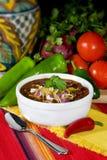 Traditionele Rode Spaanse peper & Bonen Royalty-vrije Stock Afbeeldingen
