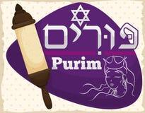 Traditionele Rol en Koningin Esther Face voor Purim-Vakantie, Vectorillustratie stock illustratie