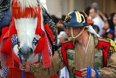 Traditionele ruiter en paard Stock Foto