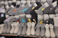 Traditionele Rus voelde de laarzenwinter Stock Afbeelding