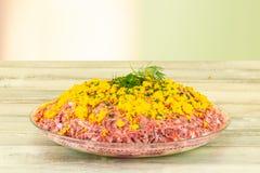 Traditionele Russische gelaagde die salade haringen onder een bontjas wordt genoemd royalty-vrije stock foto
