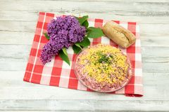 Traditionele Russische gelaagde die salade haringen onder een bontjas wordt genoemd royalty-vrije stock fotografie