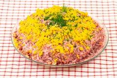 Traditionele Russische gelaagde die salade haringen onder een bontjas wordt genoemd stock foto