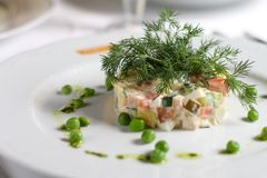Traditionele Russische salade of Olivier-salade Royalty-vrije Stock Afbeelding