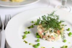 Traditionele Russische salade of Olivier-salade Stock Fotografie