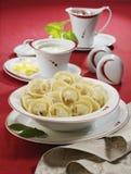 Traditionele Russische voedselpelmeni Stock Foto