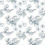 Traditionele sakura van de het patroon eenvoudige schets van de kersenbloesem vector vector illustratie