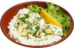 Traditionele salade met melk, honings en nootpitten Stock Fotografie