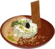 Traditionele salade met melk, komkommers, honing en nootpitten Royalty-vrije Stock Foto