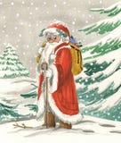 Traditionele Santa Claus met zak royalty-vrije stock afbeeldingen