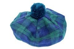 Traditionele Schotse Groene Geruit Schots wollen stofbonnet stock foto