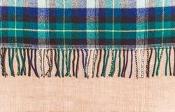 Traditionele Schotse wollen stof met linnendoek Stock Foto's