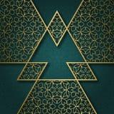 Traditionele sierachtergrond met driehoekig kader Stock Afbeeldingen