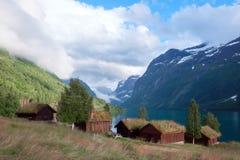 Traditionele Skandinavische oude blokhuizen Royalty-vrije Stock Foto